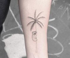 #tattoofriday - Jabuk Nowicz: tatuagens minimalistas, linhas finas e pontilhismo - palmeira/coala;