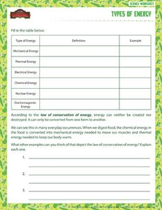 Printables Sixth Grade Science Worksheets science worksheets student centered resources and on types of energy printable sixth grade worksheet school