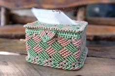 MacrameBoxTissue box cover by CraftingMode on Etsy