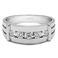 Sterling Silver Men's Wedding Fashion Ring with Cubic Zirconia (0.17 Cts.) (Yellow Plated Sterling Silver, Size 10)