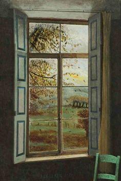 Painting by Hermanus 'Herman' Berserik (Dutch, - Herfst Buiten, Kasteel Oost (Fall Outside), 1989 Window View, Open Window, Window Art, Winter Drawings, Interior Balcony, Interior Led Lights, Software, Paint And Sip, Dutch Painters