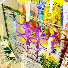 """Great tip from our friend @balzerdesigns - on Julie Balzer's Blog: #linkinprofile  DRYING RACK TO THE RESCUE! """"There's lots of room for hanging a ton of gelli prints or other painted papers you need to dry."""" #gelliarts #gelliplate #gelliprinting #monoprinting #arted #arteducation #balzerdesigns"""