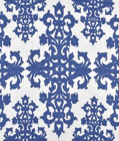 Casablanca Raoul Blue on Ivory Fabric - potential drapes for coral bedding