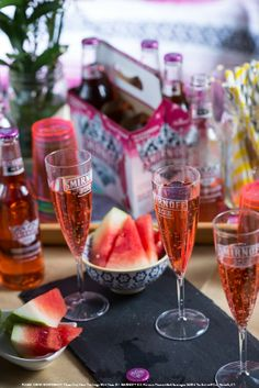 Twist & pour a bubbly glass of Smirnoff Ice Watermelon Mimosa. #Smirnoff #SmirnoffIce #Watermelon #Mimosa #Drink #Spring