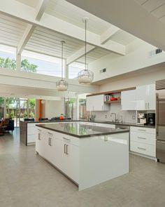 Remodeled Eichler, mid century modern, kitchen, neutrals, natural light, DWR pendants