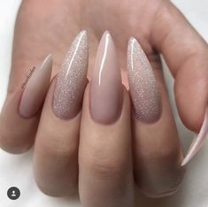 Nail art nail art nail polish gel nails acrylic - Nageldesign - Nail Art - Nagellack - Nail Polish - Nailart - Nails - Your HairStyle Acrylic Nails Glitter Ombre, Almond Acrylic Nails, Nude Nails, Silver Nails, Pointy Acrylic Nails, Pastel Nails, Stiletto Nails Glitter, Glitter Nikes, White Glitter Nails