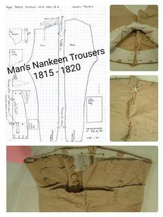 1815 - 1820 Men's Nankeen Trousers Pattern taken from extant garment.