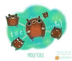 Daily Paint Mole'cule by Piper Thibodeau Cute Fantasy Creatures, Cute Creatures, Magical Creatures, Cute Animal Drawings, Kawaii Drawings, Cute Drawings, Anime Animals, Cute Animals, Chibi