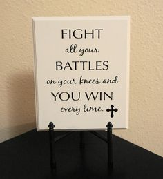 Plaque sign  Fight all your battles on your by Frameyourstory, $24.95