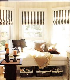 stripe shades reading area just for Mom!