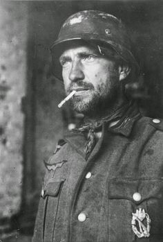 A German soldier with a badge on his chest in Stalingrad Russia Nov 1942