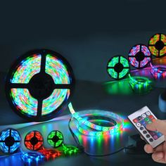This 5 meter light strip features 300 LED lights that emit combination of RGB lights, using the included remote control! Led Light Strips, Led Strip, My New Room, My Room, Bedroom Lighting, Bedroom Decor, Kids Bedroom, Closet Bedroom, Deco Led