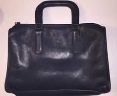 Rare Blue Leather Coach Soft Sided Unisex Mini- Briefcase / Attache / Tote / Handbag -USA Made