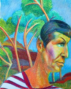 Spock on Vacation, crayon on paper, 2016.