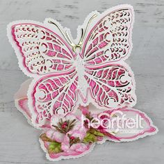 White Butterfly, Butterfly Cards, Heartfelt Creations Cards, Sweet Magnolia, Largest Butterfly, Butterfly Watercolor, Shaped Cards, Marianne Design, Ink Stamps