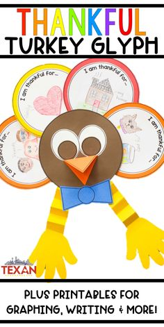 This thankful turkey glyph is the PERFECT Thanksgiving craft for incorporating art, math, writing and more!  My kids love making these every year, and they make such a cute classroom decoration!