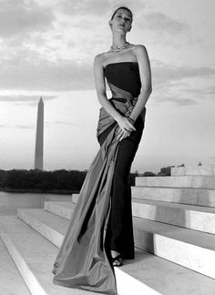 1952 Barbara Mullen posing in an evening gown by Christian Dior-New York.