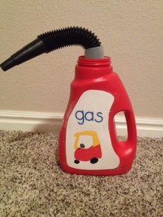 Make a toy gas can from an empty Wisk detergent bottle. Brilliant!