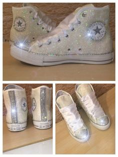 f01273c4e03d39 Women s WHITE or IVORY sparkly Glitter crystals ribbon lace high top or  wedge… Sparkly ConverseConverse Tennis ShoesConverse ...