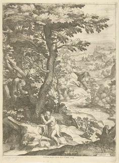 Cornelis Cort | Landschap met Johannes de Doper, Cornelis Cort, Carlo Losi, c. 1573 - c. 1575 | Glooiend rivierlandschap met biddende Johannes de Doper. Naast de knielende figuur ligt een lam.