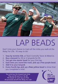 Original pinner: Great idea.....lap beads instructions  Me: totally love seeing my own team's fundraiser from my blog on pinterest!  We raise $1500+ each year at the Relay on site!