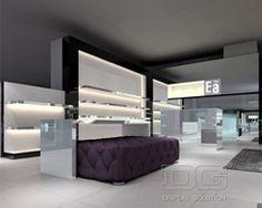 FT02 Custom Lighted Black Wooden Shoe Store Design