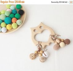 SALE Shewing Owl rattle teether with crochet beads