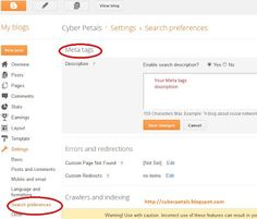 Adding Meta tags made easy in Blogger new interface