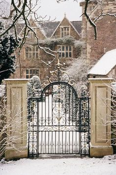 "Part of me didn't know whether or not to pin this on the ""Gardening with a purpose"" board or my awesome architecture board. But since it involves an irresistible Tudor style house AND a lovely wrought iron gate, I decided on the architecture board. Beautiful Homes, Beautiful Places, Villa, English Manor, Iron Gates, Iron Garden Gates, Winter Scenes, Winter Garden, Belle Photo"