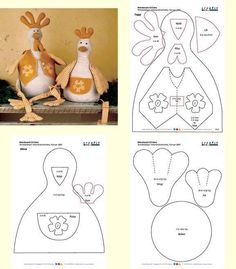 Templates For Fabric Crafts: Chicken with mold Animal Sewing Patterns, Stuffed Animal Patterns, Doll Patterns, Sewing Toys, Sewing Crafts, Sewing Projects, Fabric Animals, Fabric Birds, Doll Crafts