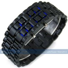 Colors Storm Volcanic Lava Men Lady Black Strip Blue LED Date Day Digital Display Plastic Watch by new brand. $1.49. Watch Material: Plastic  Width Of Watch: Approx 2.70cm   Length Of Watch: Approx 22.00cm   Screen: Two rows LED lights for time display  Settings: Time, Date, Seconds (Watch looks like a common bracelet at normal conditon, time will be displayed just like lava while LED is lighting)  Function buttons (right-side): Top (hour and date display + select) Button (ch...