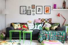 Home styling tips from an IKEA designer / green tables at a cute living room