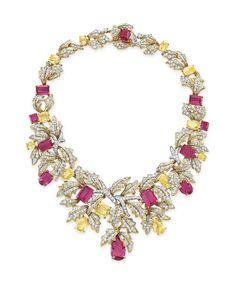 A diamond, rubellite tourmaline and yellow sapphire necklace, by David Webb #christiesjewels #davidwebb