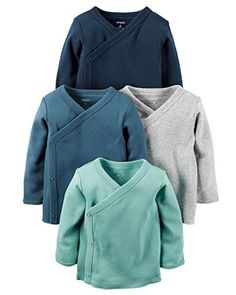 Carters Baby Boys 4-Pack Cotton Kimono Tees (Preemie)