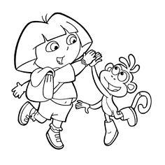 Dora The Explorer Coloring Pages See More Leuk Voor Kids Kleurplaat En Boots