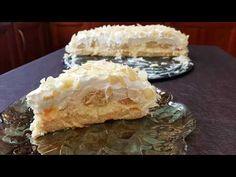 Εύκολη τούρτα αμυγδάλου με μπισκότα!!! - YouTube Greek Recipes, Recipies, Deserts, Dairy, Sweets, Cheese, Food, Youtube, Kitchens