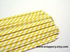 yellow + white striped twist ties.