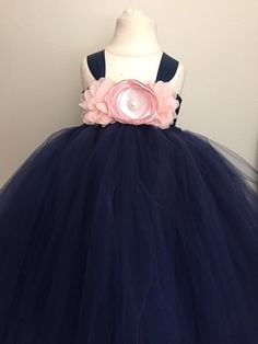 Hey, I found this really awesome Etsy listing at https://www.etsy.com/listing/252260688/girls-navy-and-blush-pink-tulle-dress