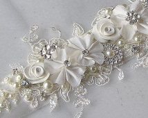 Items similar to Romantic Ivory Bridal Sash, Wedding Belt, White, Champagne or Ivory Rhinestone and Pearl Flower Sash with Alencon Lace - MEADOW on Etsy Wedding Belts, Wedding Sash, Bridal Sash, Wedding Wear, Applique Fabric, Silk Ribbon Embroidery, Making Hair Bows, Wedding Flower Arrangements, Bead Art