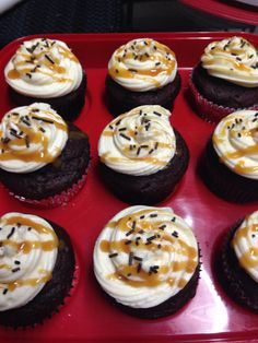 Caramel drizzle cream cheese frosting from scratch.