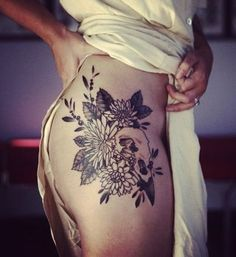 flower hip tattoo designs for girls