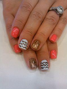 glitter and Chevron nail art!! #20loungescottsdale #chevron #nailsbyashley