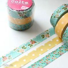 Colte Japanese Washi Tape Set {Rose & Polka Dot} Blue/Yellow