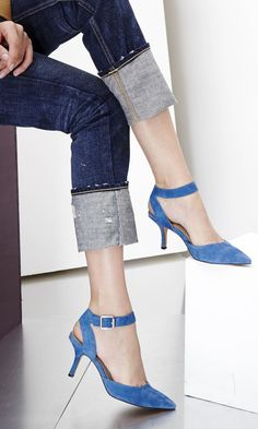 pointed toe d'orsay mid heel in genuine suede