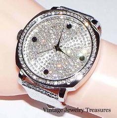 Joan Boyce Crystal Oversized Face Silver Leather Strap Watch NEW HSN #JoanBoyce #LuxuryDressStyles