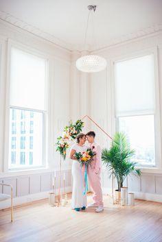 North Carolina LGBT Wedding Photographer - Palm Springs Wedding - Raleigh Wedding Photographer - Botanical Wedding - Colorful Wedding -