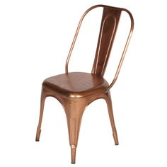 Wanderloot Cafe Copper French Style Metal Side Chair (India)