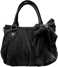 Betsey Johnson Crystal Palace Satchel in BLACK BJ26415 Shiny CRYSTAL STUDS! #BetseyJohnson #Satchel