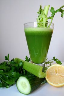 This juice is an excellent detoxifier. The cucumber and celery work as diuretics expelling extra water and flushing out the kidneys. This juice is also very high in vitamin C.     Note: Parsley should not be consumed in largequantitiesif pregnant or suffering from kidneyinflammationas it works as a uterine stimulant.     Ingredients  4 sprigs parsley  1 cucumber  3-4 stalks organic celery (with our without leaves)  1/2 lemon