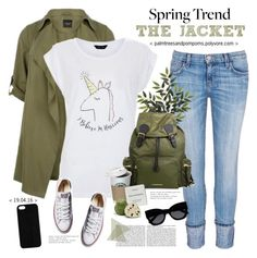 """Wardrobe Basics: Spring Jacket"" by palmtreesandpompoms ❤ liked on Polyvore featuring Current/Elliott, Burberry, Byredo, Converse, Karen Walker, Maison Takuya and wardrobebasics"